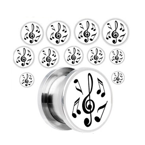 Stainless Steel Music Notes Screw Fit Ear Plug Body Piercing Jewelry