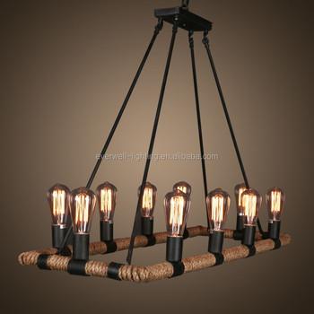 Top Vintage Rotan Touw Kerk Hanglamp Industriële Plafond Verlichting &PY16