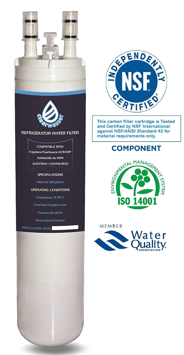 Clearwasser Frigidaire ULTRAWF Compatible Refrigerator Replacement Water Filter. Also Best for Kenmore 469999, PureSource 3, PS2364646, WF3CB. Labels included reminding to change Ice Maker cartridge