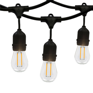 Popular connectable led festoon lighting vintage patio globe 48ft outdoor string light with 15 x e26