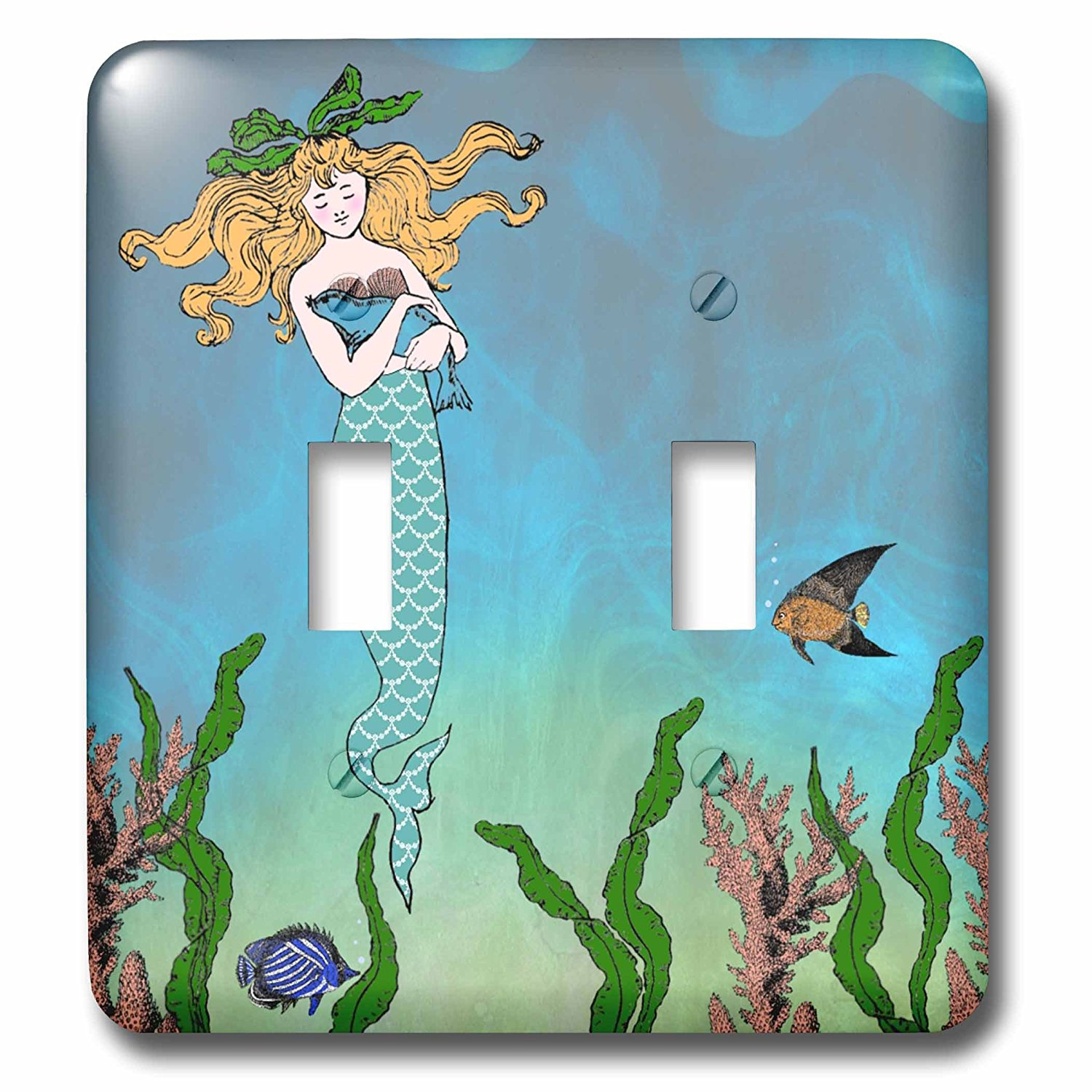 """3dRose LSP_112836_2""""Cute Pretty Mermaid Hugging Baby Seal Double Toggle Switch, Multicolor"""