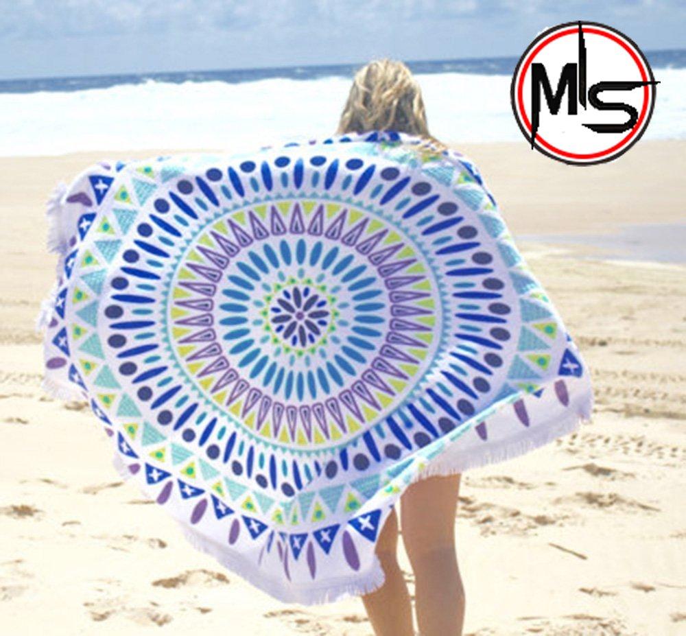 "60"" Indian Mandala Round Roundie, Beach Throw, Indian Mandala Tapestry, Yoga Mat, Picnic Mat, Table throw Hippy Boho Gypsy Cotton Tablecloth Beach Towel by MY'S"