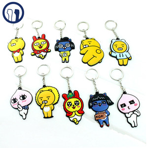 custom silicone keychain Cute cartoon rubber keychain with custom package in high quality