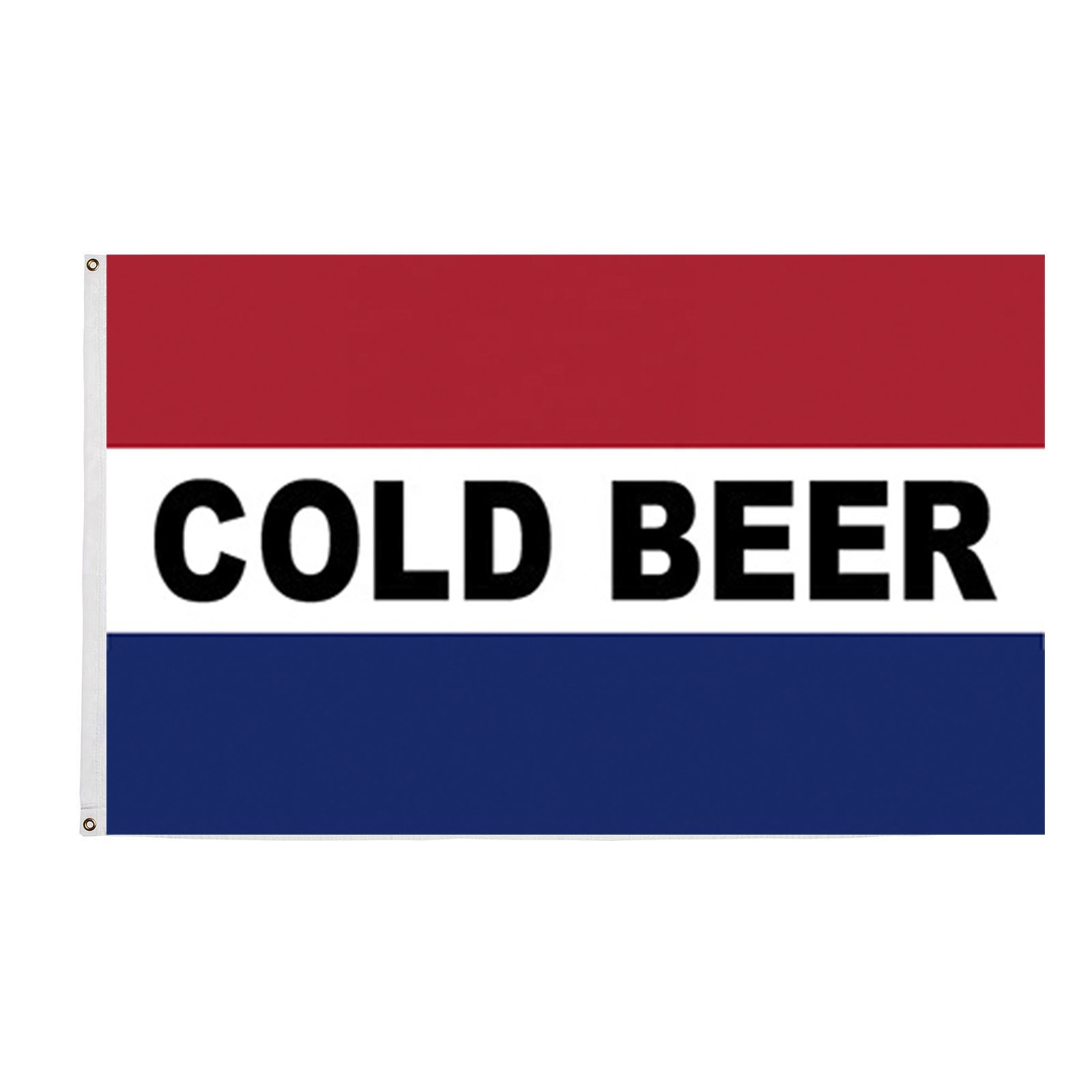 Wholesale 100% Polyester 3x5ft Stock Printed Red White Blue Cold Beer Flag