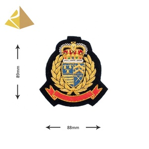 Gorgeous Luxurious Manufacturer Custom Bullion Wire Hand Embroidery Fashion Uniforms Badge