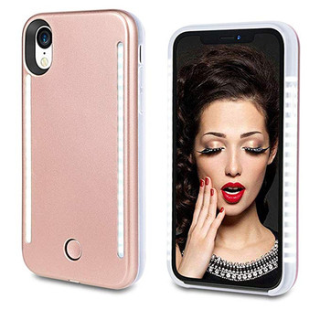 High quality front and back leds selfie phone case for iphone11 6 7 8p x xs xsmax xr white light cover for samsung s8 s9 s10plus