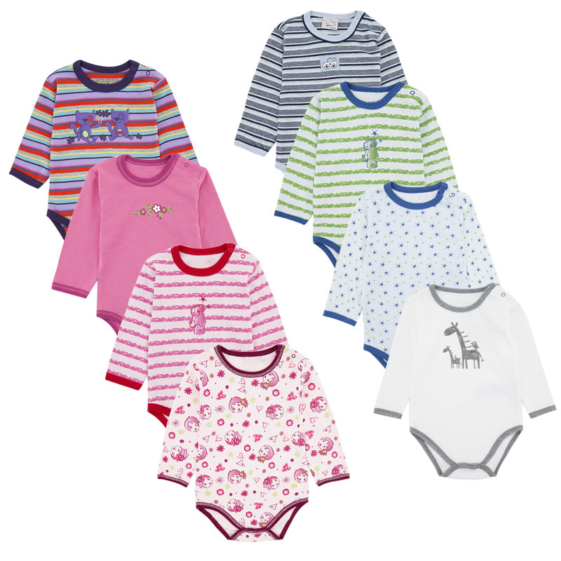 Free Sample High Quality Colorful Newborn Infant O-neck Long Sleeve Wholesale Snap Crotch Baby Bodysuit Baby Clothing