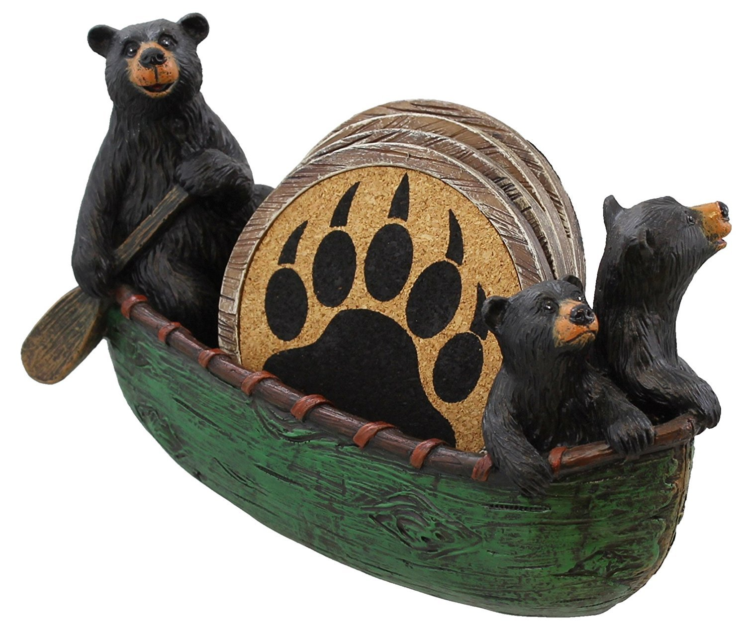 3 Black Bears Canoeing Coaster Set - 4 Coasters Rustic Cabin Green Canoe Cub Decor
