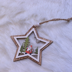 Laser Cut Crafted Non-woven Christmas tree pendant Wooden Christmas decoration hanging ornaments
