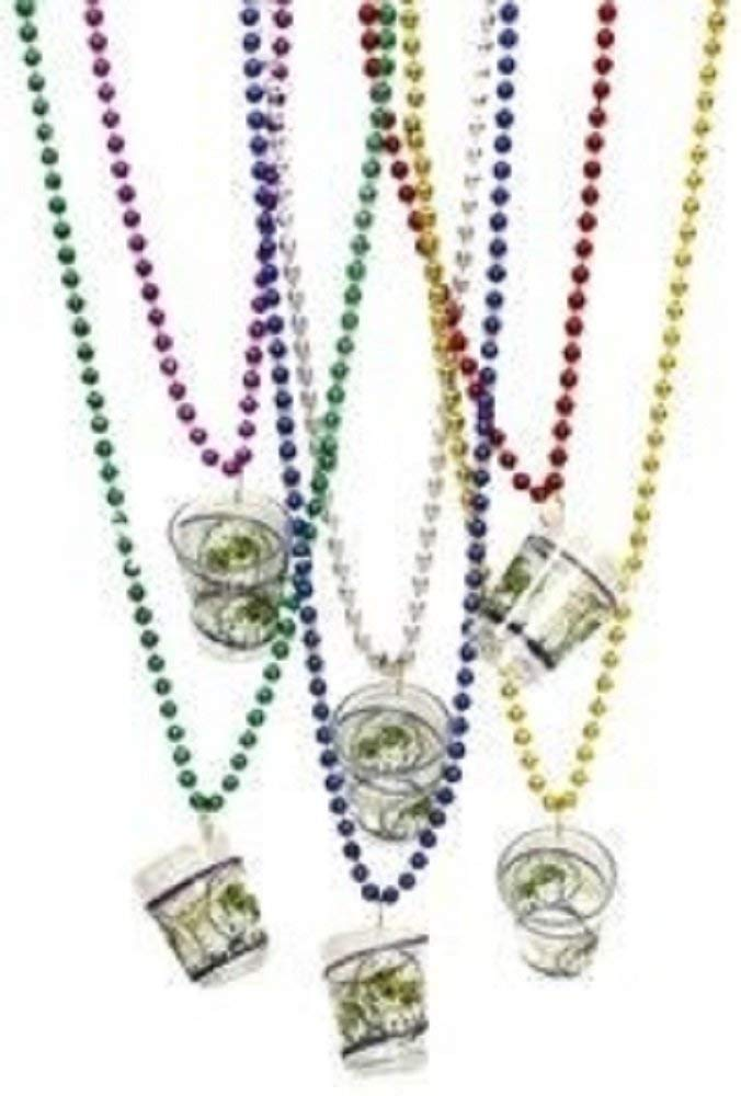 "Mardi Gras, Metallic Beads with Shot Glass Necklace, 7 mm, 33"", 10 Dozen (120pcs)."