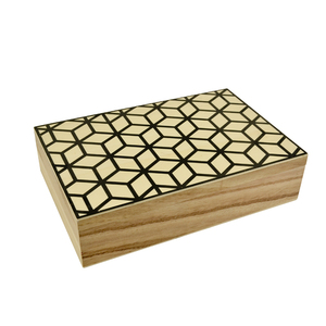 High-end design ornament wood decorative square cube wooden box without hinges