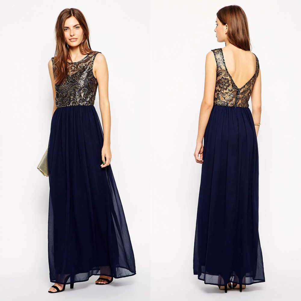 d7cb410e5fc3 Get Quotations · Top New Fashion Navy Blue O Neck Sleeveless A Line Free  Shipping Backless Chiffon Lace Long