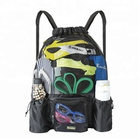 Mesh Swimming Bag Drawstring Backpack Backpack Beach Sports Gear Swim PE Gym Equipment Bag Sack Pack