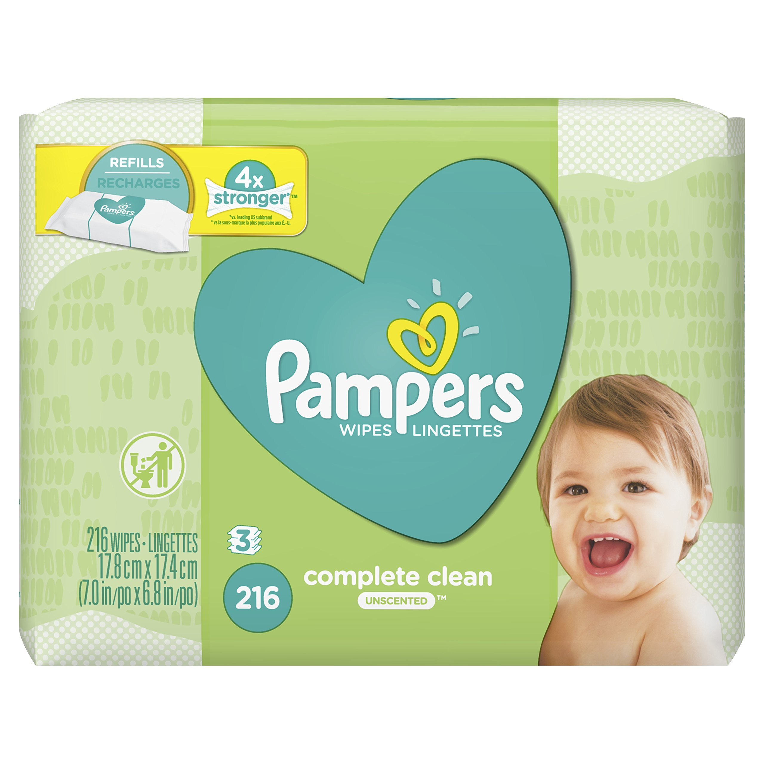 Pampers Complete Clean Unscented 3X Refills Baby Wipes, 216 ct
