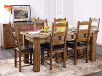 Chunky style solid oak square dining table/ dining room furniture