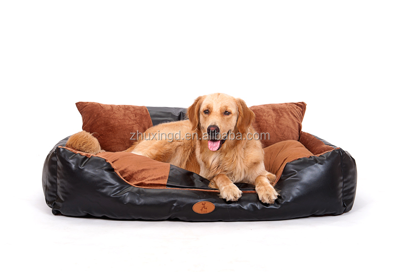 Luxury pet dog beds leather, bed for large pets, pets and dogs