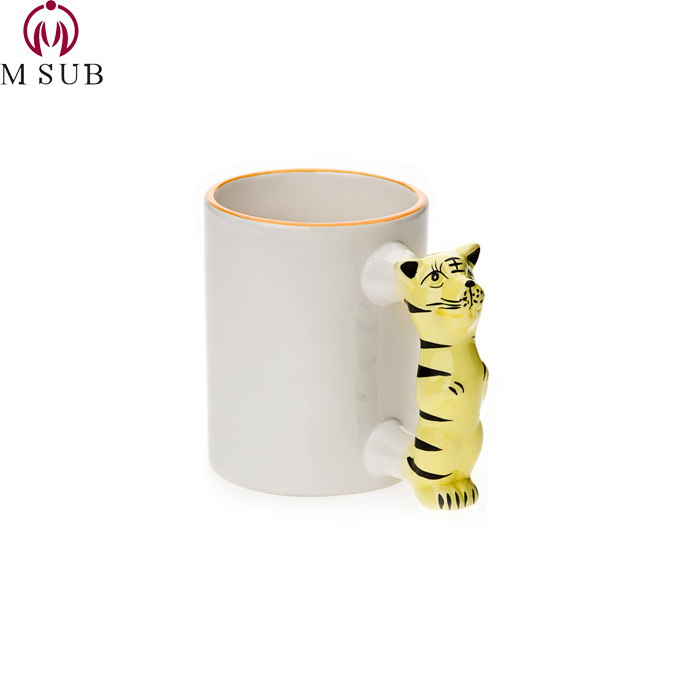 Factory direct 11 온스 tiger handle 낯 짝 kids using 잔 photo printing 컵 personalized 컵