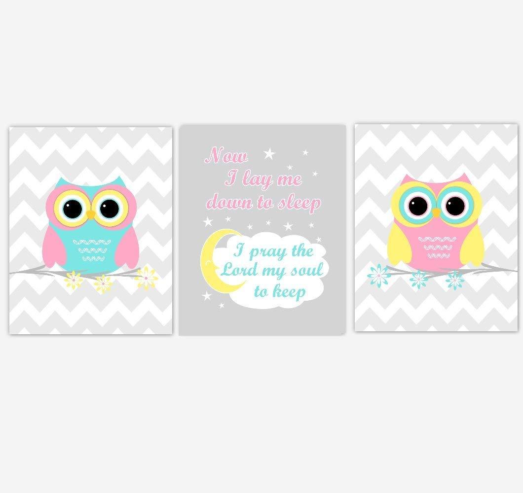 Nursery Wall Art Owls Pink Aqua Blue Yellow Now I