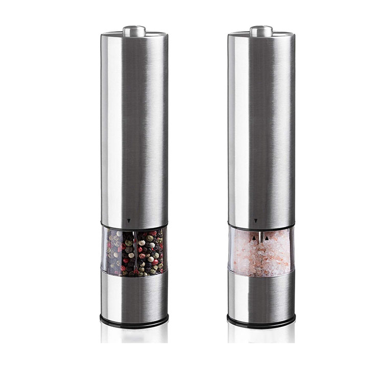 Stainless Steel 2 In 1 Automatic Electric Garam Merica Grinder Set