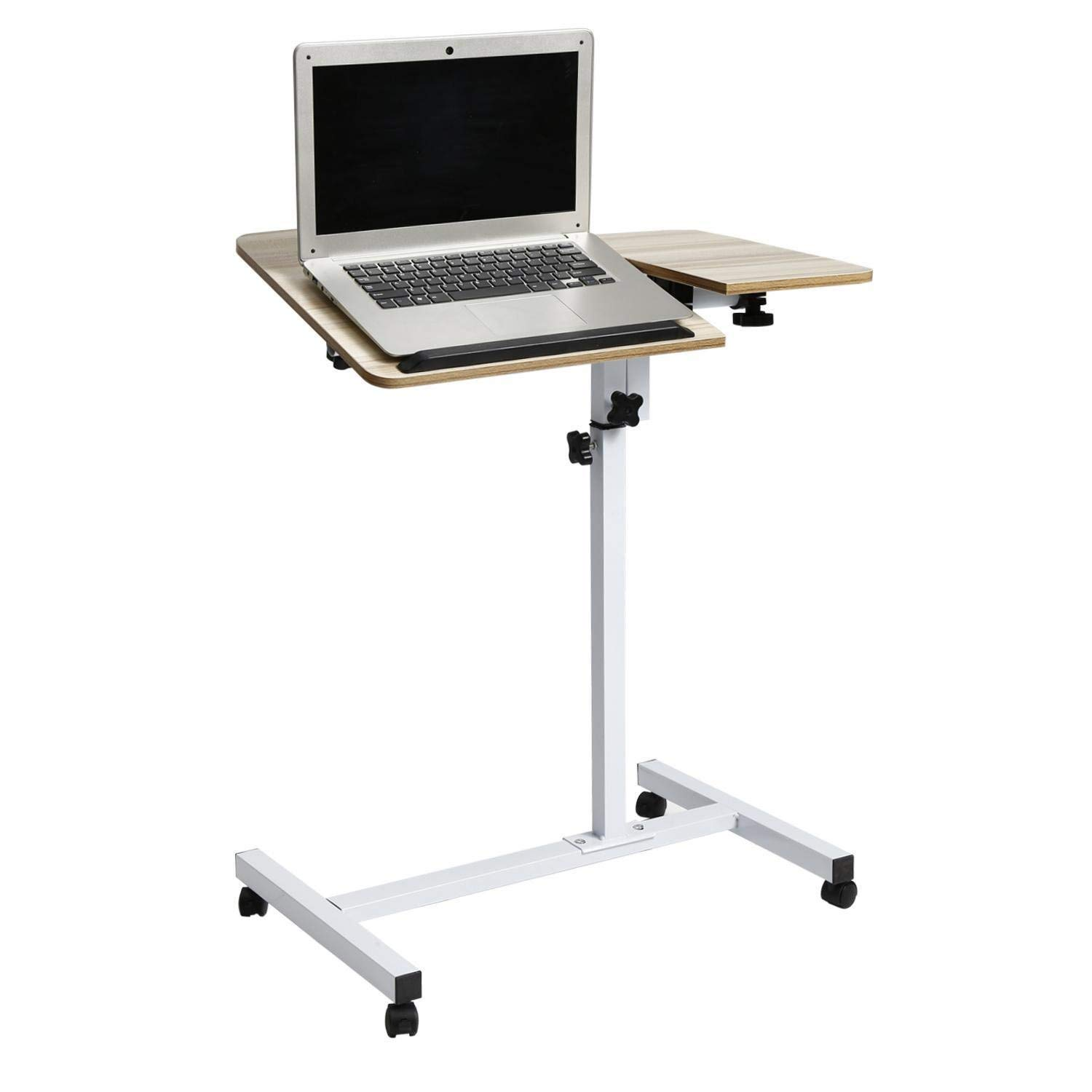 Mewalker Wood Mobile Laptop Desk, Angle Height Adjustable Moveable Bedroom Table Stand, US STOCK (Apricot)