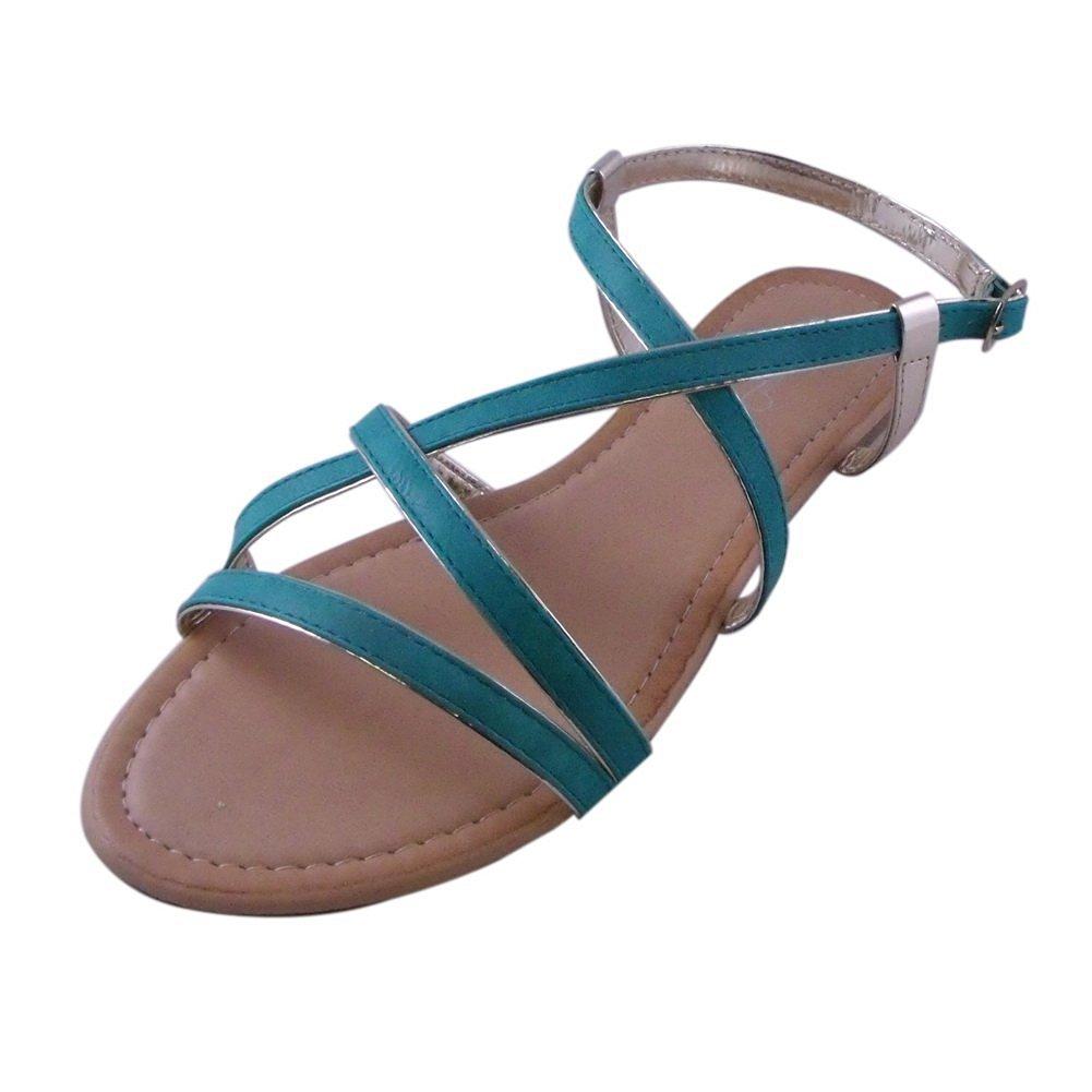 Sunny One Toe Chain Decorated Flat Sandal AQUA