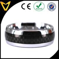 Black Carbon Fibre Tungsten Unisex Men Band Ring -8mm Dome Finish