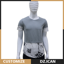 Spliced Clothes Casual Mens Cotton Logo Printed Tshirts