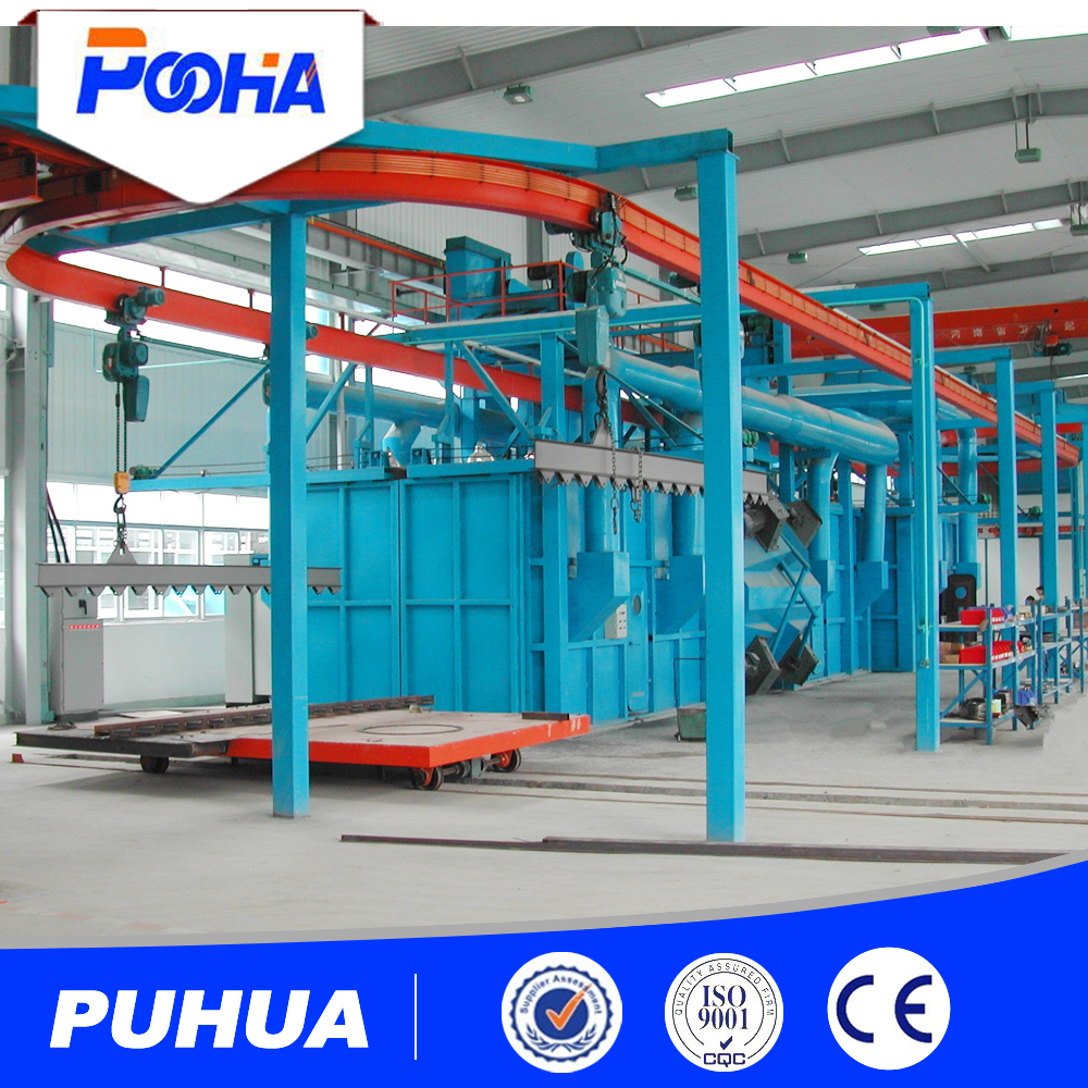 Catenary Hanging Double Hook Shot Blasting Machine for sale