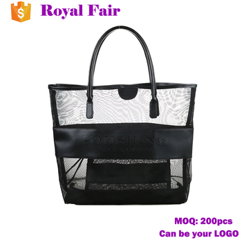 Wholesale Classic Tote Black Mesh Pu Large Beach Bag - Buy Pu Tote ...