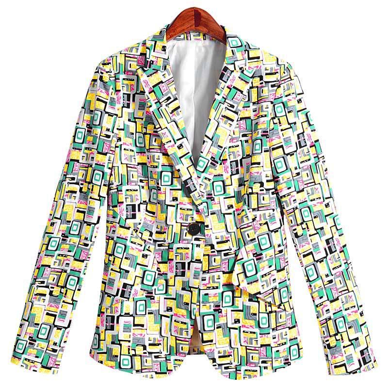 Мода 2015 В - шеи одной кнопки хлопок блейзер женщин реальные фото геометрический принт многоцветный женщины пиджаки и куртки