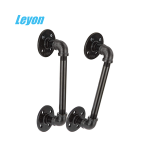 decorative pipe fittings retro black NPT/BSPT female threaded 1/2 inch floor flange elbow short / long black steel pipe
