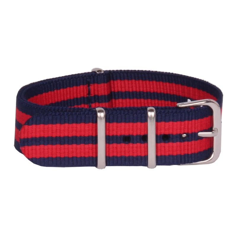 Navy Red Color High Quality Nylon Watch Band Strap Colorful Men And Women Nato Watchband 18 mm 20 mm 22 mm