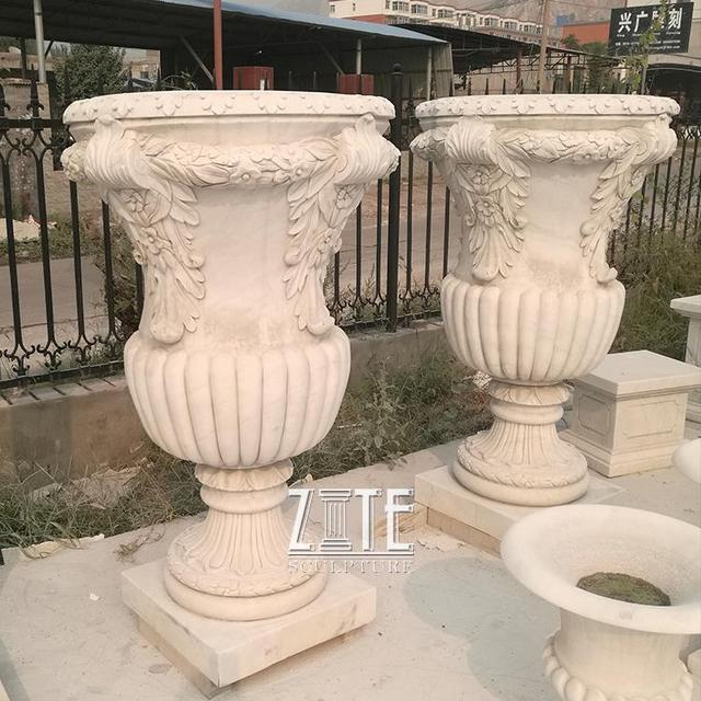 2016 new designs hand carved marble garden planter