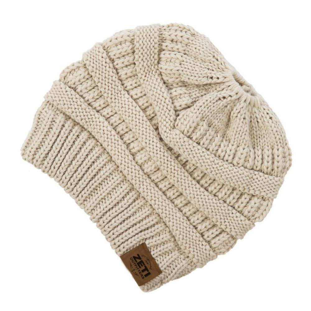 a854b1b8283 Get Quotations · ZETI Slouchy Beanie - Warm Chunky Oversized Beanie - Camel  Brown Solid Soft Stretch Cable Knit