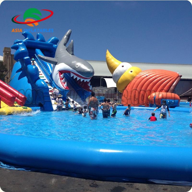 a2f84bab63fe44 Outdoor speeltoestellen kids grote haai opblaasbare water park zwembad  glijbaan voor verkoop