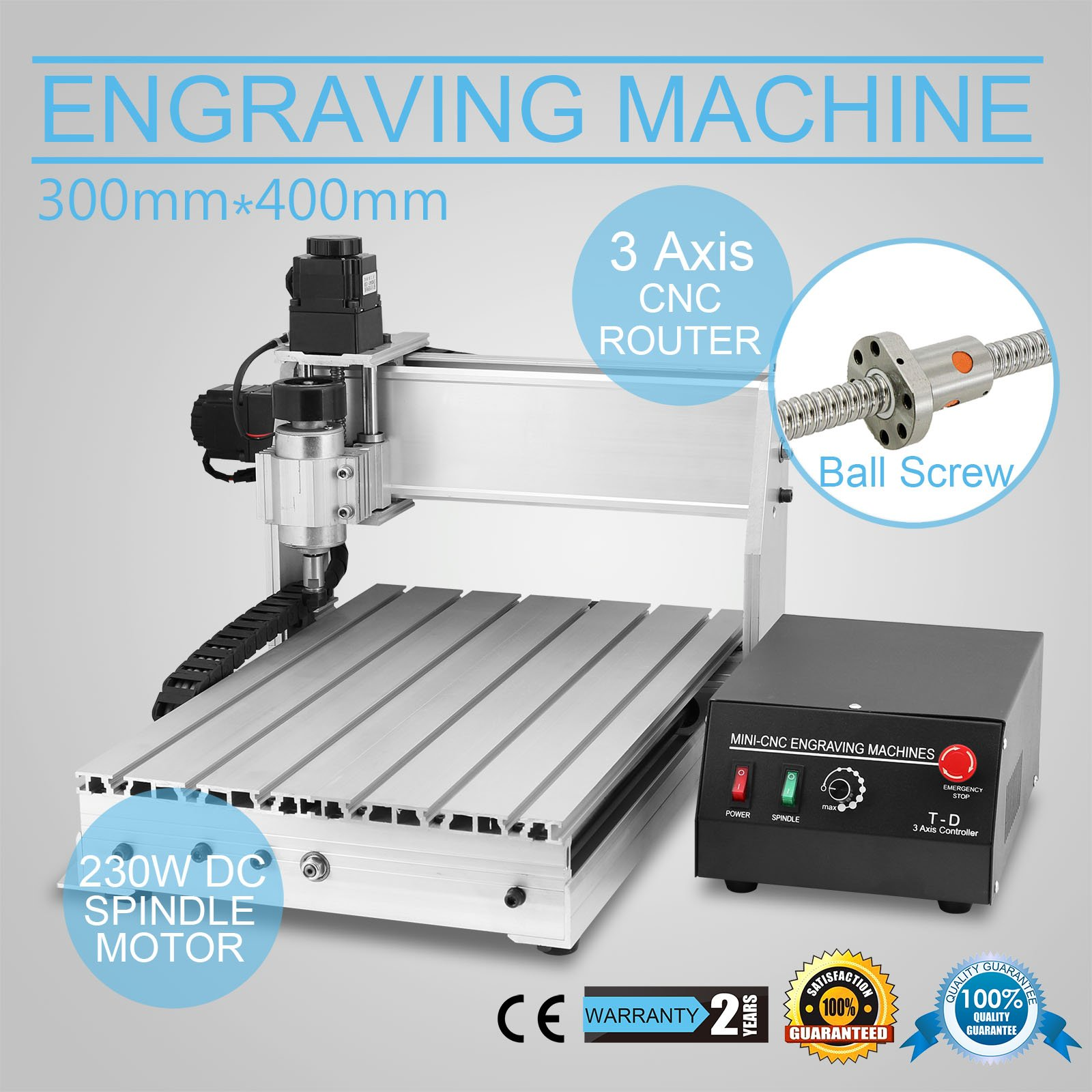 CNCShop CNC Router Engraving Machine Engraver Machine 3040T-DQ 3 Axis Desktop Wood Carving Tools Artwork Milling Woodworking (3040T-DQ 3 Axis)