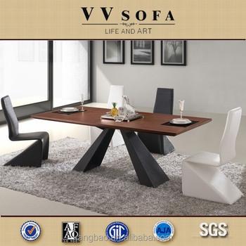 Kangbao Latest Design High Quality Dining Room Set Modern Wood TableSteel Base