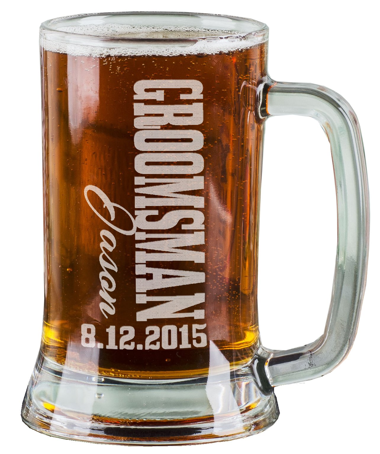 One 16 Oz Groomsmen Beer Mug Wedding Party Gifts for Groomsman Beer Glass Etched Engraved Custom with Name and Date for Wedding, Engagement Bachelor Party Groomsmen Gifts