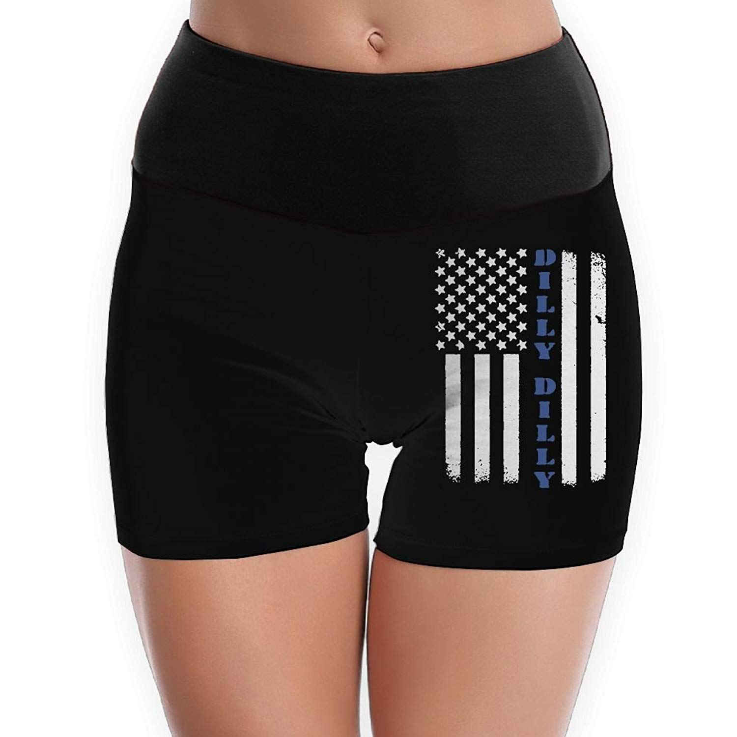 TTBYOGA Dilly Dilly American Flag Womens High Waist Yoga Shorts Fitness Yoga Sport Shorts Underwear
