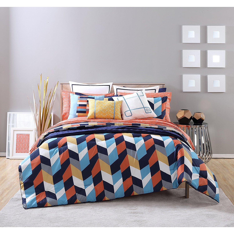 D&H 3 Piece Girls Multi Color Geometric Comforter King Set, Beautiful Vibrant All Over Chevron Zigzag Bedding, Girly Zig Zag Block Themed Pattern, Navy Blue Coral Orange Golden Yellow Grey White