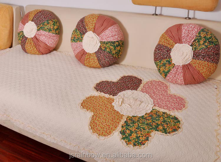 New design 100% cotton handmade knitted patchwork big flower carpet and soft cover