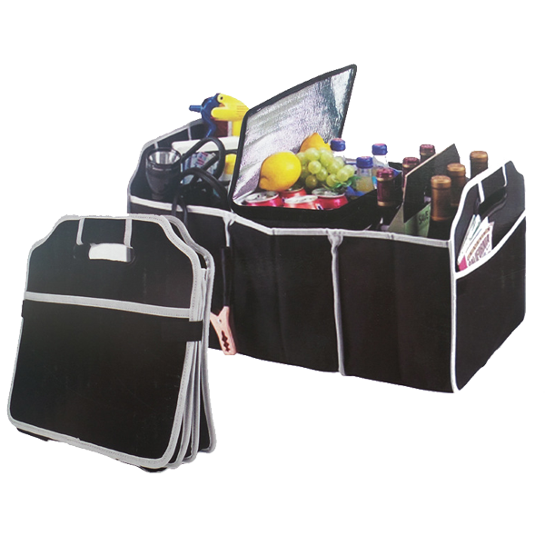 Large Collapsible Shopping Handles Three-Compartment Divided Back Car Organizer, Food Drink Tool Car Trunk Organizer