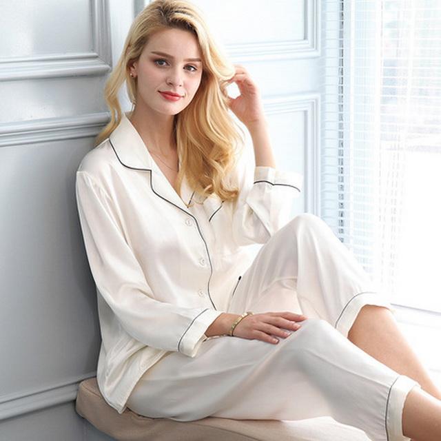 KTFL1006 New design trendy long 2pcs set women's 100%silk sleepwear фото