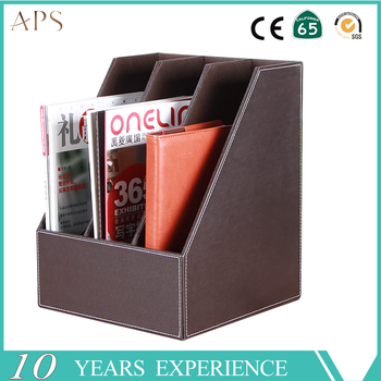 3 Slot Wood Leather Magazine Holder Office Desk Organizer File Document  Tray Box Bookends Book Stand