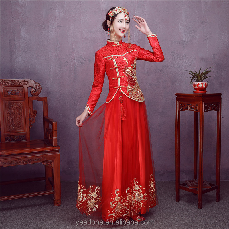 0bba6f596176b Gros Traditionnels Chinois Femmes Robes Rouge À Long Cheongsam Qipao DX7003