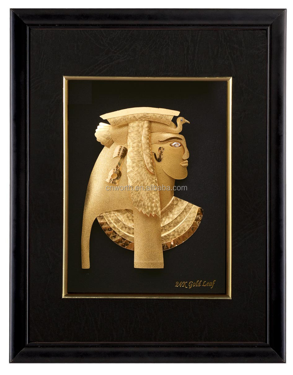 f43ab282cc1 WR 24k Gold Plated Picture Frames Handmade Egypt Pharaoh Frame Wall Hanging  Craft Home Office Decor