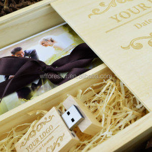 Decorative Pine Wood Photo Album USB Gift Boxes with Sliding Lid