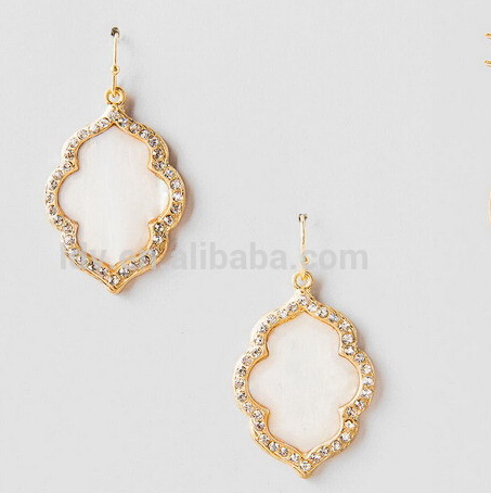 mother pearl inspired earring surrounded by glittering rhinestones moroccan pattern earring