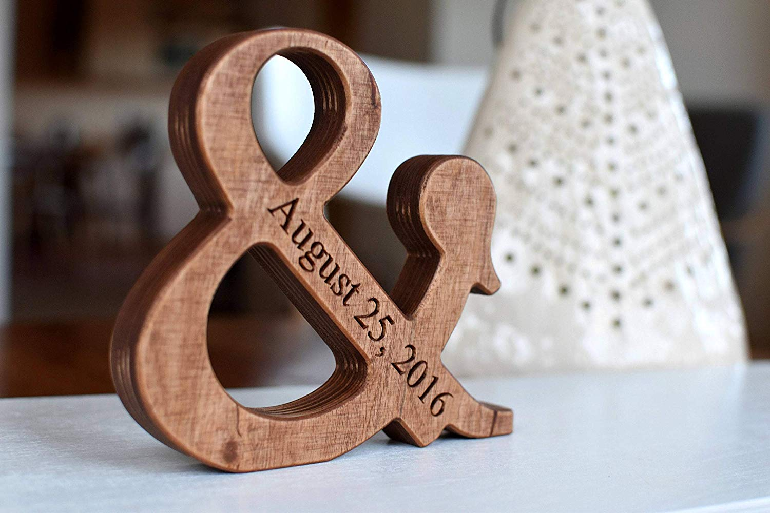 6'' Personalized Wood Ampersand - Free Standing Wooden Letter Ampersand - Valentines Day or Wedding Gift - Home Decor and 5th Wedding Anniversary Gift