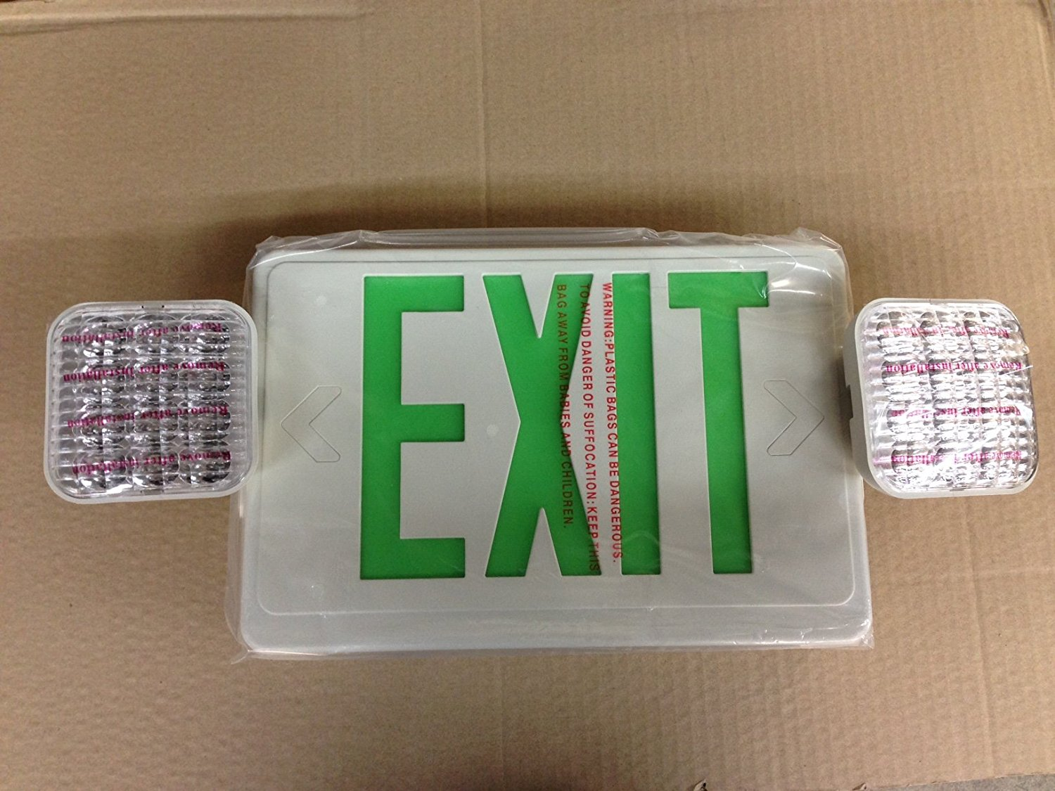 ELITE ELX-LED-703-G-W GREEN LED EXIT SIGN & EMERGENCY LIGHT COMBINATION WITH BATTERY BACK UP 120/277V